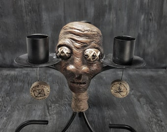 Voodoo Shrunken Head Candle Stick Holder DISTURBING