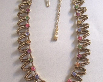 Mid Century Multi Color Pastel Rhinestone Necklace Vintage Costume Jewelry 1950s Choker Rhinestones Easter Colors MoonlightMartini