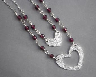 Mother Daughter Garnet Heart necklace Set , Heart necklace set , Mother Daughter Jewelry , PMC Silver Heart Necklace , Mother's Day Gift