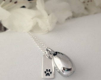 Pet Urn Necklace/ Necklace for Pet Ashes/ Pet Cremation Jewelry/ Paw Print Urn/ Ashes Jewelry/ Memorial Bereavement/ Gift for loss of pet