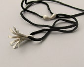 Lily Flower Necklace, Sterling Silver Pendant, Long Silver Necklace, Protection Amulet, Blossom Pendant