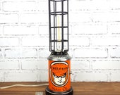 Repurposed Oilzum Motor Oil Can Light, Orange Accent Lamp, Upcycled Lighting, Man Cave Decor, Auto Motorcycle Decor, Boys Room Table Lamp