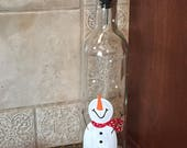 Snowman Oil Dispenser - Christmas Oil Dipenser - Snowman Soap Dispenser - Hand Painted Oil or Vinegar Dispensers