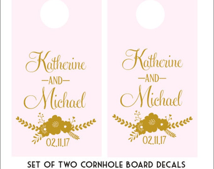 Custom Cornhole Decals Wedding Cornhole Decals Vinyl Decal For Corn Toss Game Boards DIY Set of Two Decals Rustic Floral Wedding Decor