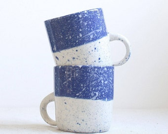 Speckled Mug Blue and White Porcelain, Coffee Mug Made to Order
