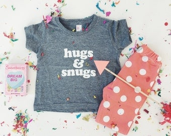 Valentine's HUGS and SNUGS Tee - Gray Tri-blend T-Shirt- Baby and Toddler