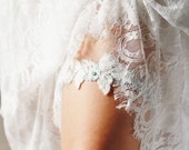 Wedding Garter Bridal Garter Lace Garter Belt - Ice Blue Garter Belt Powder Blue Garter - Something Blue Garter Bohemian Rustic Garter
