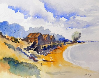 Studland Bay  print from an original watercolour painting by John Menage size A3 = 11.69ins.x16.54 ins.or A4 = 8.27ins.x11.69ins.A4