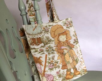 Hollie Hobbie shopping bag or tote made from vintage Hollie Hobbie and Friends print fabric
