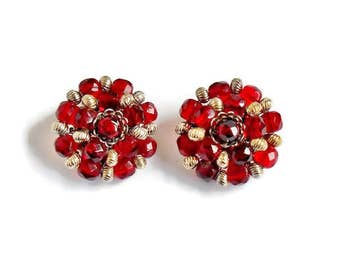 Vintage Red Bead Earrings Silver Clip On, Coiled Faceted Ruby Red Bead Cluster Earrings Vintage Fashion Jewelry