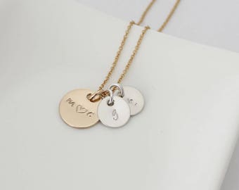 Silver and Gold Dainty Initial Necklace - Personalized Hand Stamped Necklace - Mother's Necklace