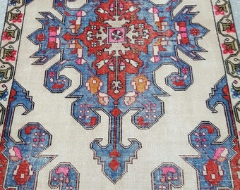 Vintage Oushak Rug / 4 by 7 / Muted / Pastel / Red-White-Blue / Boho / Low-Pile / Distressed Rug - 89 in x 52 in