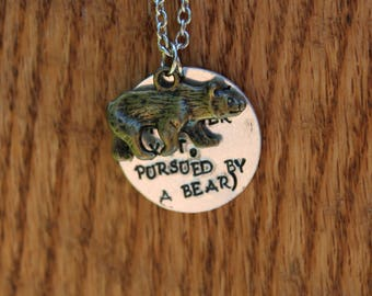 The Winter's Tale - Exit, pursued by a bear - Shakespeare Metal Stamped Literary quote necklace