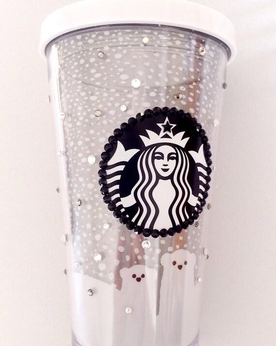 Custom Crystal Polar Bear Starbucks Cold Drink Cup w/ Swarovski Collector Grande 16 oz Acrylic Travel Tumbler Snowflake Rhinestone Bling