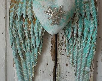 Metal angel wings distressed light sea glass blue w/ white embellished rhinestone heart shabby cottage chic wall hanging decor anita spero