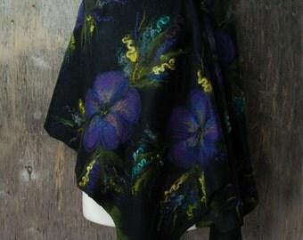 Felted scarf nunofelt scarf merino wool shawl felt flower black green royal blue cornflower purple felted art wrap scarf MADE TO ORDER