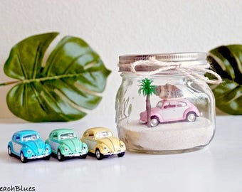 Tropical / Dorm Decor / VW Bug / WV Beetle / Beach Decor / summer decor / Beach home decor / Beach Car in  Jar / Mason Jar / One of a kind