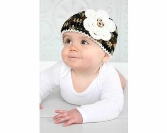 CAMO BABY GIRL Hat, Crochet Army Baby Girl, Crochet Camo Baby, Military Baby Hat, Camo Baby Beanie, Camouflage Baby Girl, Knit Camo Baby Hat