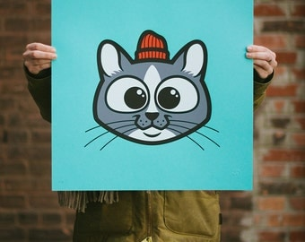 Pets in Tiny Hats (Sammy) Cat Screen Print. Kids Room Art. Signed Limited Edition of 50. By Artist Matt Douglas