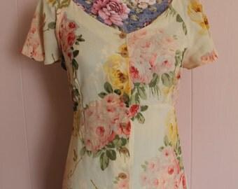 Vintage 90's Betsey Johnson Floral Ankle Length Dress