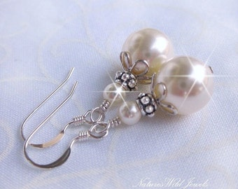 Classic Pearl and Sterling Vintage Inspired Earrings, Sterling Silver and Pearl Drop Earrings, Bridal, Bridesmaid Ivory or White Earrings