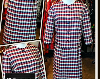 Vintage Red White Navy Blue Silk Check Jacket Skirt Set Suit FREE SHIPPING