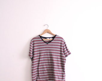 Soft Red Striped 90s Tee