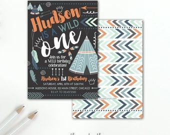 Wild One Invitation, Boy's Tribal First Birthday Adventure 1st Birthday Boho Indian Tepee Feathers Arrows Printable or Printed Invitation