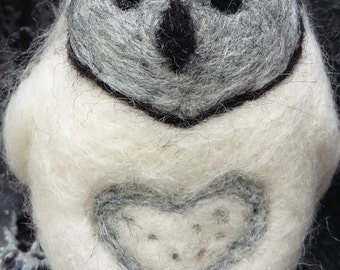 Needle Felted Grey Faced Owl