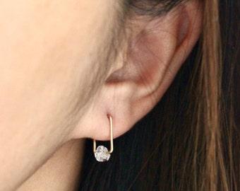 Square Earrings, Geometric Earrings, Square Hoop Earrings, Square Herkimer Diamond Hoops Earrings
