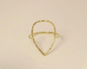 14k pear shape ring, 14k teardrop ring, 14k pear shape gold ring, 14k tear drop ring, 14k gold ring, 14k thumb ring, 14k circle ring