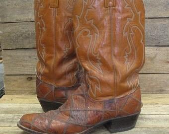 Vintage DAN POST Men's 10.5D Reptile Patchwork Peanut Brittle Leather Cowboy Western Boots