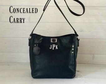 Monogram Concealed Carry Purse – Concealed Carry Purse Locking - Personalized CCW-CCW Black Handbag–Concealed Carry Handbag-Ships in 2 Weeks