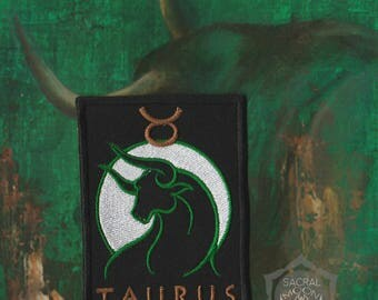 Taurus sign embroidered patch occult zodiac astrology earth