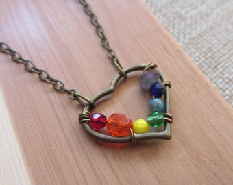 Rainbow Beaded Heart Necklace, Wire-Wrapped Brass Heart, Love Necklace, ROYGBIV