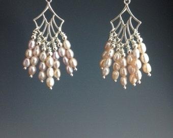 Fresh Water Pearl Earrings - Sterling Earrings - Bridal Jewelry - Wedding Earrings - Bridal Earrings - Pearl Jewelry - dangle earrings-Doves