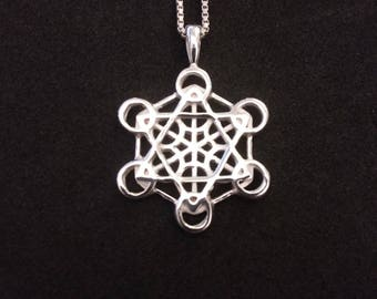 metatron's cube pendant in sterling silver - sacred geometry - metatron 's cube necklace