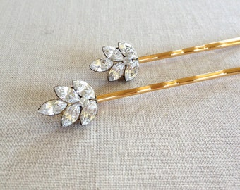 Swarovski, rhinestone, leaf, bobby pin, gold, rustic, wedding, bridesmaid, gift, bridal, hair pin