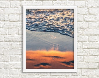 Sunset print, beach printable, beach decor, Michigan photography, beach theme decor, sunset beach photos, Lake Michigan, digital download