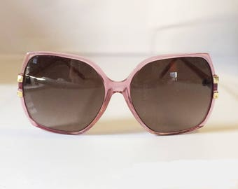 Vintage 70s Oversized Sunglasses / Pink/Purple in Color Frames w/ Gold Accent / 1970's / Retro Shades
