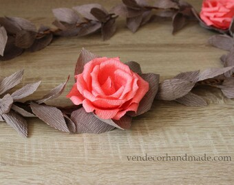 Coral Gray Wedding Garland, Paper Flower Garland, Party Garland, Arch Garland Bridal Shower Decorations Aisle Decorations Gray Wedding Decor