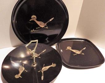 1960s Vintage Three Couroc of Monterey Plates Handled Tidbit Tray Roadrunner Bird