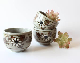 Stoneware Cups Set of 3 Tea Cups Espresso Cups Studio Pottery Boho Home Decor Bohemian Kitchen