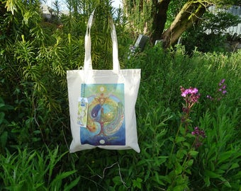 Tote Bag, Cotton Eco Tote Bag, Reusable Shopper, Eco Gift, Deer Medicine, Celtic Design, Elen of the ways, World tree, Labyrinth, Celtic Art