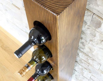 Wood wine rack for 7 bottles / rustic wine rack / bottle storage / bottle holder / wedding gift