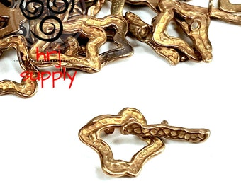 16mm, Brass Toggle Clasp, Clasp, Closure, Abstract Toggle Clasp  -  4 Sets (8 pieces)
