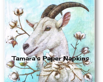 Decoupage Napkins, 4 Single Paper Napkins, THE COTTON KING Goat Blue Animal 33cm 13 Inch. 1500 Designs for Papercraft, Visual Arts Collage