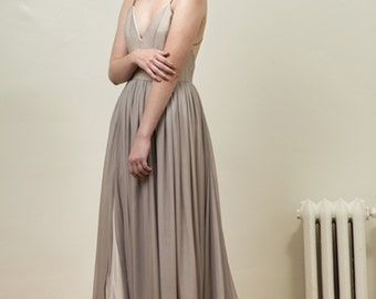 Gray and Ivory Silk Chiffon Wedding Gown - Leigh