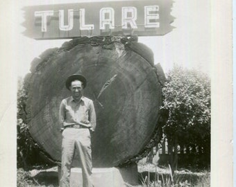 Vintage Photo..Tulare, California Sign, 1930's Original Found Photo, Vernacular Photography