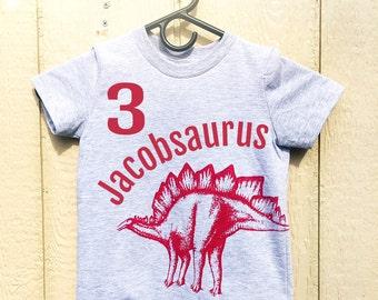 Personalized Kids Dinosaur TShirt. Customized Birthday Shirt. Dinosaur Birthday Shirt. Toddler Dinosaur Shirt. Boys Dinosaur Red Tshirt.